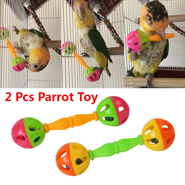 happinter 2 Pcs Plastic Double-Headed Bell Pet Toys Bird Parrot Toy Rattle Birds