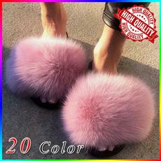 Sandals, fur, foxfur, fluffy