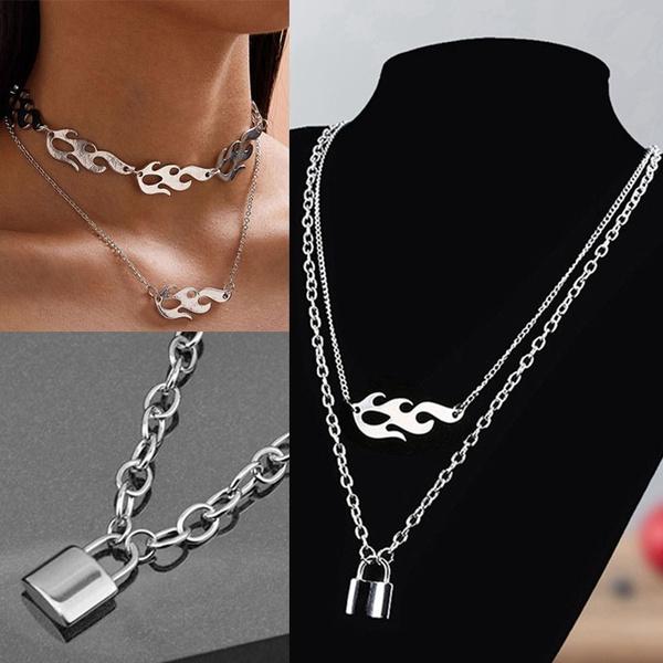 Harajuku Charm Double Deck Hip Hop Flame Atronach Lock Pendant Necklace Male Female Chokers Street Dance Chain Cool Punk Jewelry Wish