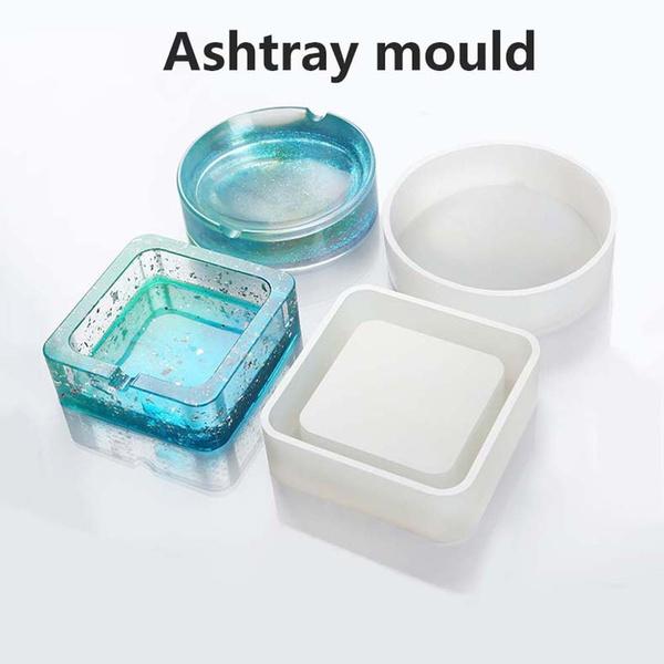 Handmade Craft Round Diy Epoxy Resin Storage Box Crystal Ashtray Mold Clay Tools Jewelry Making Tools Silicone Mold Wish