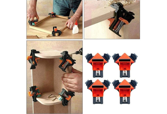 CMHSP 90/° Rights Angle Clip Fixer Making Cabinets Multifunction Adjustable Swing Corner Clamp for Wood-working Furniture Repair Connection 4Pcs Right Angle Clamps