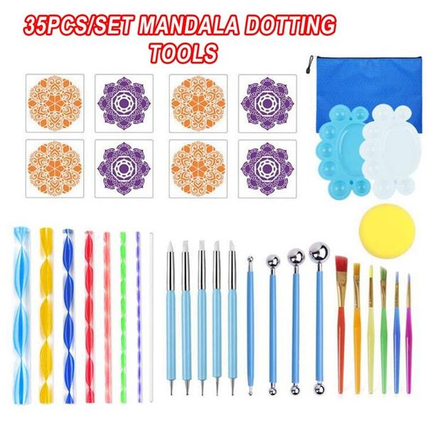35pcs//Set Mandala Dotting Tools Rock Painting Kits Dot Art Pen Paint Stencil