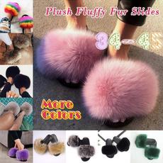 fursandal, fluffy, summer shoes, Slippers