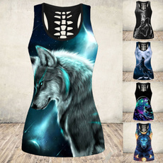 hollowouttanktop, Tanktops for women, Plus Size, wolfprint