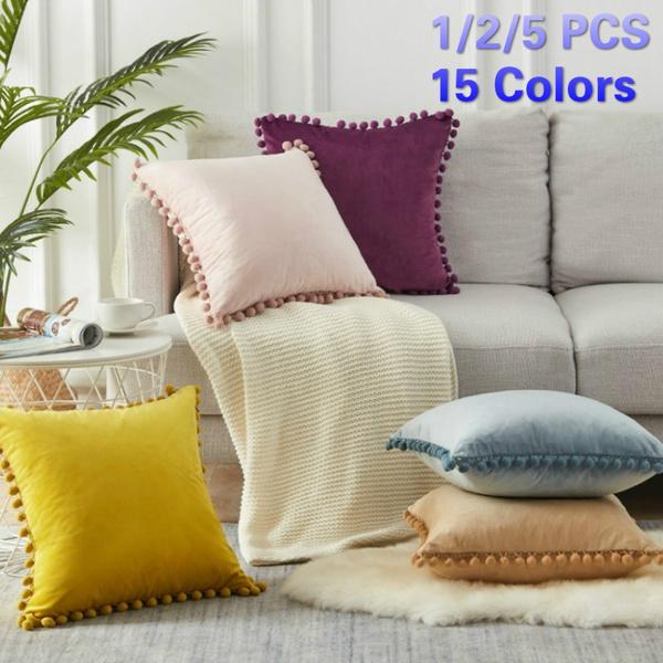 Pom-poms Pillowcase Soft Particle Velvet Cushion Covers Solid Color Sofa Decor