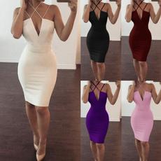 Deep V-Neck, Summer, dress slim, bandage dress