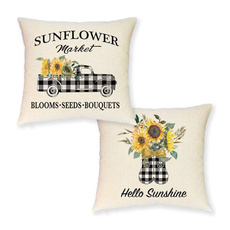 Summer, plaid, summerpillowcase, Sunflowers