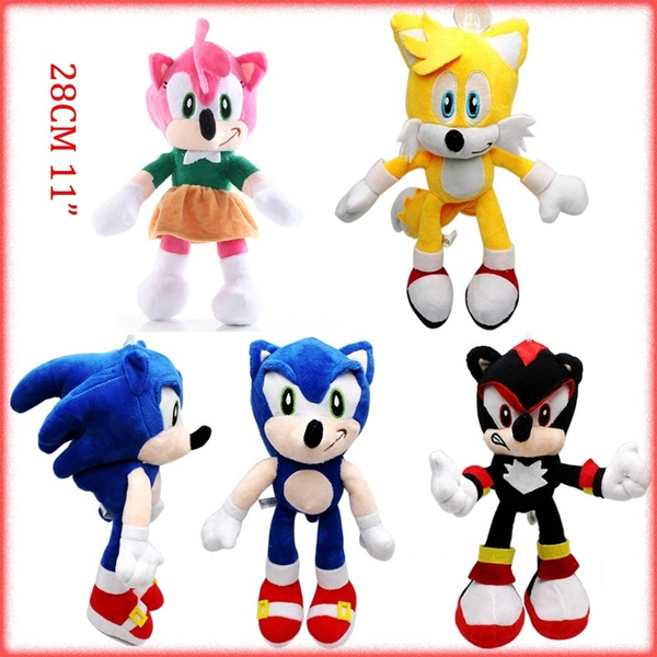 28cm Sonic The Hedgehog Plush Doll New Movie Shadow Knuckles And Tails Doll Kids Gift Toy 11in Wish