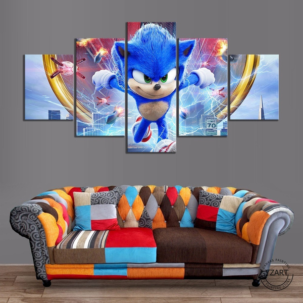 Wall Art 5 Piece Sonic The Hedgehog Movie Poster Super Sonic Pictures Artwork Wall Paintings For Living Room Home Decor Canvas Paintings No Frame Wish