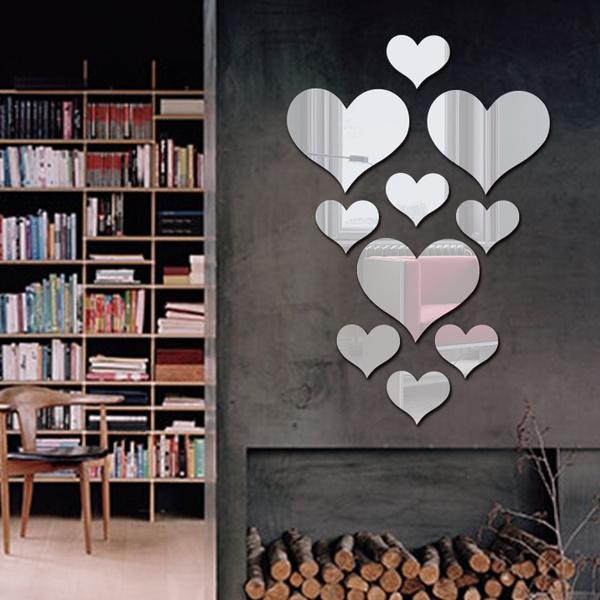 Diy 3d Three Dimensional Heart Shaped Mirror Wall Sticker Decorative Background Wall Acrylic Mirror Wall Sticker Living Room Kids Room Wall Art Decoration Wish