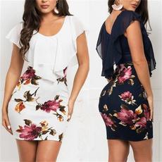 dressforwomen, Plus Size, Cintura, Chiffon Dresses