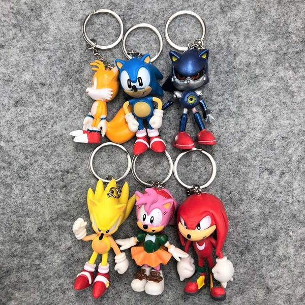 6pcs Set Japanese Anime Sonic The Hedgehog Keychain Pvc Keychain Sonic Pvc Keychain Costume Collectible Toy Wish