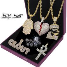 Heart, DIAMOND, Cross necklace, gold