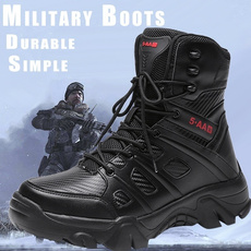 combat boots, Outdoor, Leather Boots, Zip