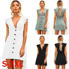 Summer, Fashion, ruffle, Deep V-neck Dress