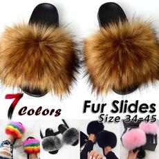 Flats, Flip Flops, fur, foxfur