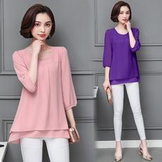 Korea fashion, Plus Size, chiffon, blusasfeminina