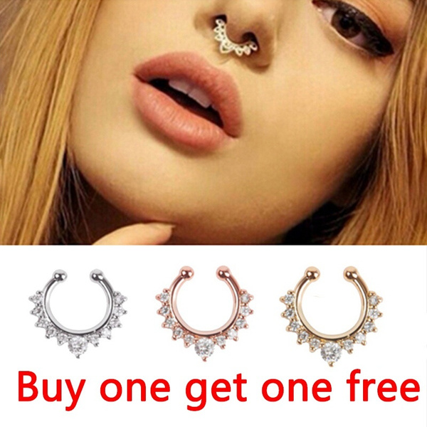 2pcs Crystal Fake Septum Nose Ring Piercing Clip On Nostril Sexy Fake Hoop Nose Stud Clip Ring For Women Body Jewelry Wish