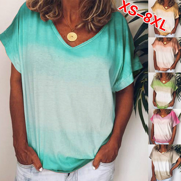 TIFENNY Fashion Shirts Womens Gradient Animal Print O-Neck Short Sleeves T-Shirt Blouse Tops Simple Tees