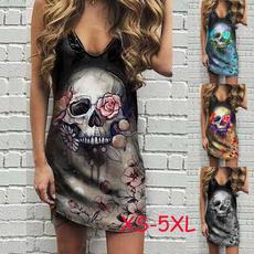 Summer, printeddres, skull, skullprint