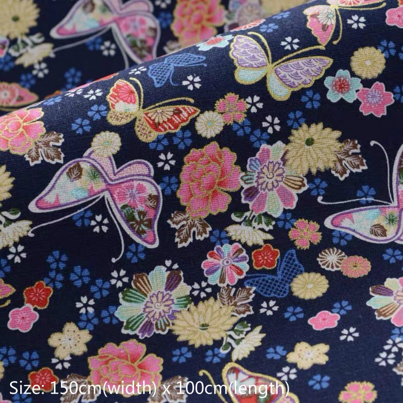 Japanese Tiger Cotton Fabric Metallic Gold Craft Kimono Sewing Cloth DIY Retro