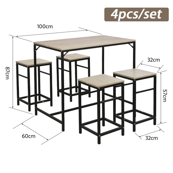 New 4pcs Kitchen Chairs Set Of 4 Dining Chairs With 1pc Table Set De 1 Table 4 Tabourets Avec Repose Pieds Table Mange Debout Table Haute Cuisine Table Set Fr Wish