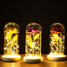 romanticrose, christmasproduct, goldleafrose, led