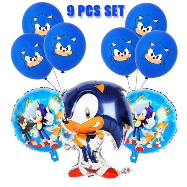 9 Pcs Sonic Hedgehog Latex Balloons Party Supplies Sonic Balloons Party Favors For Kids Birthday Baby Shower Party Decorations Wish