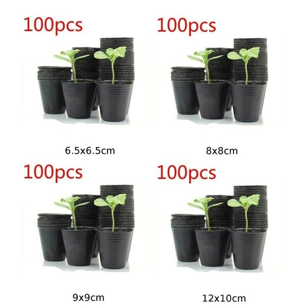 10//100Pcs Nursery Pot Seedlings Flower Plant Container Plastic Garden Seed Pots