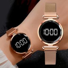 magnetbucklewatch, Fashion, led, rosegoldwatch