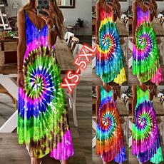 Deep V-Neck, Summer, Plus Size, long dress