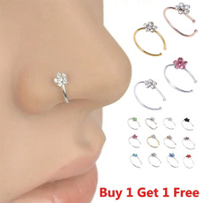 Stud, Flowers, septumring, Crystal Jewelry
