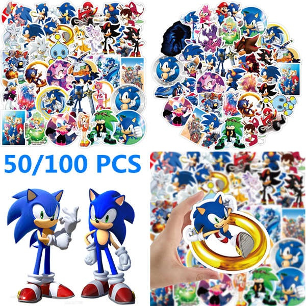 Mixed Style Cartoon Sonic The Hedgehog 50 100 Pcs Doodles Stickers Game Console Ps4 Skin Stickers Laptop Guitar Skateboard Car Luggage Helmet Waterproof Vinyl Decal Different Cute Stickers Wish