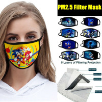 Sonic The Hedgehog Cartoon Printed Kid Adult Cotton Mask Breathable Safety Air Fog For Outdoor Half Face Masks Protection Pollution Face Allergens Masks Wish