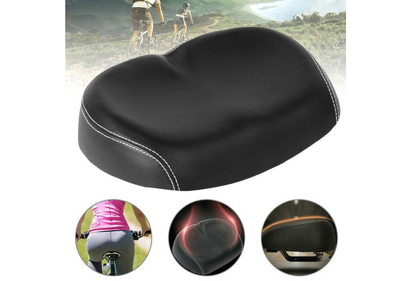 Bike Saddle Wide Large Cycling Noseless Soft PU Seat Accessories for Bicycle^^