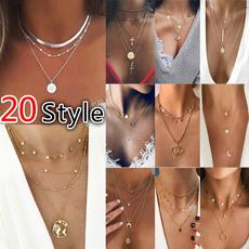Moda, Star, Cross necklace, Chain