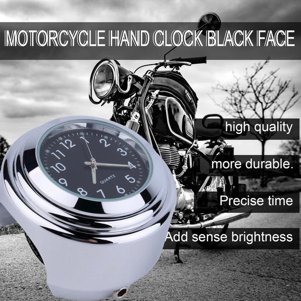 Waterproof Motorcycle Motorbike Handlebar Mount Round Dial Clock Accessory black