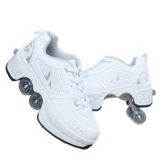 quadkickrollershoeswhite, kickoutrollerskateshoe, rollerskate, Sports & Outdoors