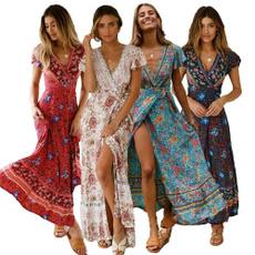Summer, long dress, Dress, short sleeves