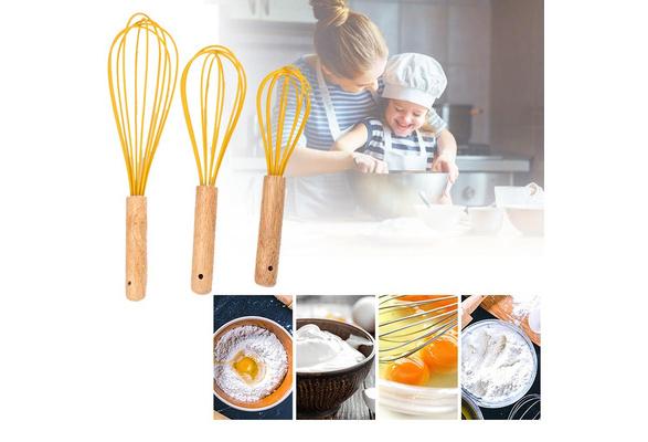 Rotary Manual Egg Beater Mixer Kitchen Whisk Bake Tool Agitator Silicone/_vi