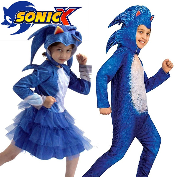 2020 New Costume Sonic The Hedgehog Cartoon Sonic Kid Children S Cosplay Jumpsuit Halloween Costume Cosplay Girls Boys Bodysuit Dress Up Stage Performance Costume Wish