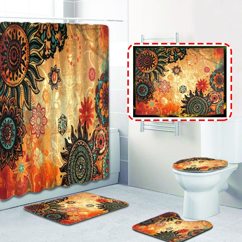 4//3//1 pcs African Women Shower Curtain Bath Curtains Rugs Toilet Seat Cover Set
