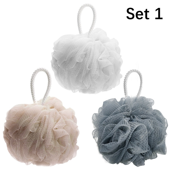 Bath Shower Soap Bubble Loofah Sponge Pouf Body Scrubber