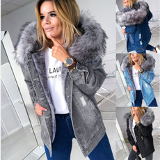fur coat, jeanjacket, Plus Size, hooded
