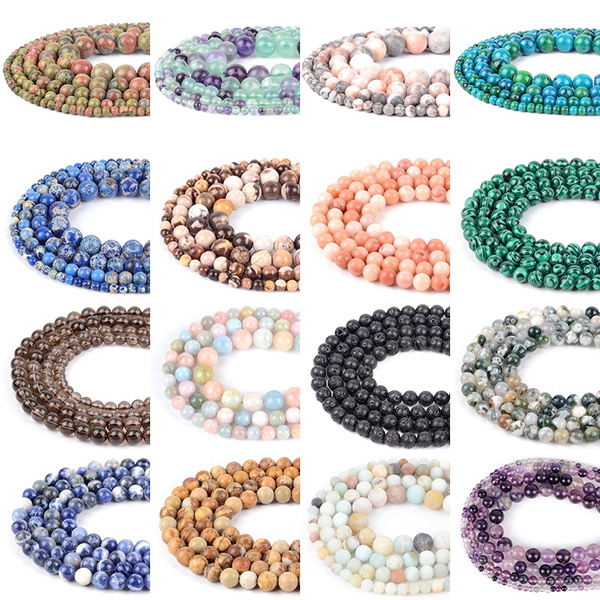 Wholesale AAA Natural Stone Beads Mixed Gem Agates Lapis Pink Quartz Amethysts