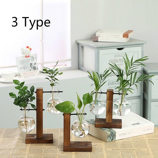 Hydroponic Plant Vases Transparent Vase Vintage Flower Pot Wooden Frame Glass Tabletop Plants Home Bonsai Decor Wish