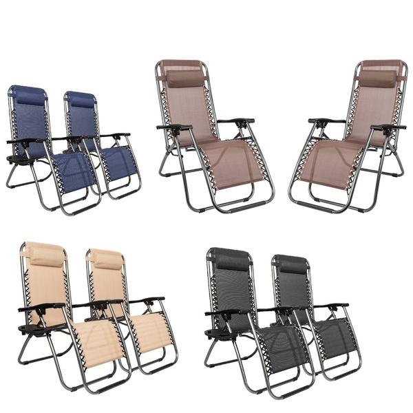 2 Folding Zero Gravity Lounge Chairs+Utility Tray Outdoor Beach Patio Pool Yard | Wish
