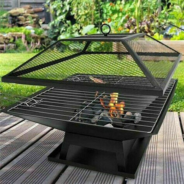 Fire Pit Garden Heater Barbecue BBQ Grill Stove Camping Charcoal Patio Outdoor