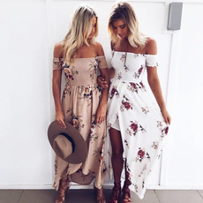 Summer, strapless, Floral print, Tops & T-Shirts