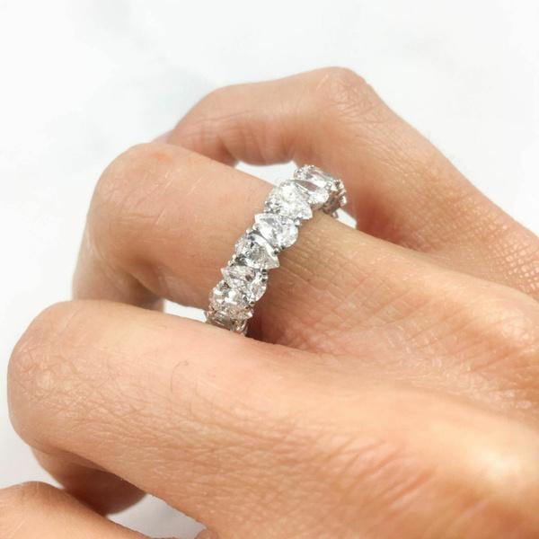 Fashion Women Charm Gift Jewelry Engagement White Sapphire Ring Wedding Diamond